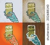 smartphone with hands graphic... | Shutterstock .eps vector #202688140