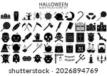 halloween black filled icons...