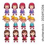 girls emotions set | Shutterstock .eps vector #202691206