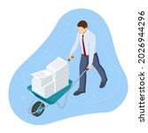 isometric businessman driving a ... | Shutterstock .eps vector #2026944296