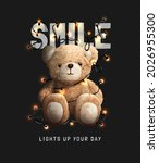 smile slogan with bear doll and ... | Shutterstock .eps vector #2026955300