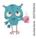 Cute Blue Owl With A Pink...