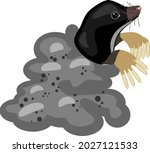 cartoon mole and molehill...   Shutterstock .eps vector #2027121533