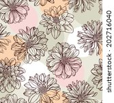 seamless pattern with dahlias | Shutterstock .eps vector #202716040