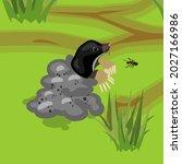 cartoon black mole on molehill...   Shutterstock .eps vector #2027166986