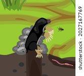 cartoon black mole on molehill...   Shutterstock .eps vector #2027167769