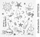set of sea sketch objects.... | Shutterstock .eps vector #202720216