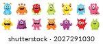cute  monsters  vector set.... | Shutterstock .eps vector #2027291030