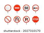main regulatory traffic signs... | Shutterstock .eps vector #2027310170