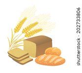bread and ears of wheat on a...   Shutterstock .eps vector #202733806
