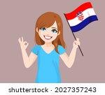 young beautiful croatian woman... | Shutterstock .eps vector #2027357243
