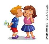 boy kisses a girl  vector... | Shutterstock .eps vector #202736638
