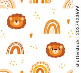 cute seamless pattern with lion ... | Shutterstock .eps vector #2027423699
