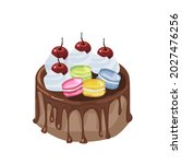 chocolate cake with whipped... | Shutterstock .eps vector #2027476256