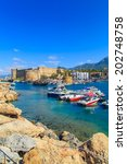 boats in a port in kyrenia ... | Shutterstock . vector #202748758