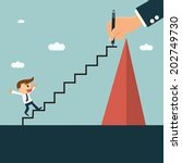 businessman writting ladder for ... | Shutterstock .eps vector #202749730