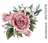 Stock photo bouquet of roses and eustoma watercolor can be used as greeting card invitation card for wedding 202751278