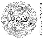 black and white cartoon space... | Shutterstock .eps vector #2027513150