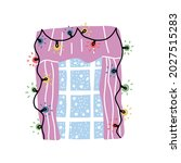 cute christmas decorated window ...   Shutterstock .eps vector #2027515283