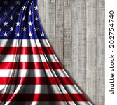 America Flag Fabric And Wood...