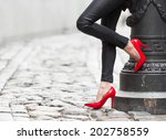 woman wearing black leather... | Shutterstock . vector #202758559