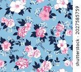 seamless flowers pattern on... | Shutterstock .eps vector #2027585759