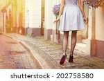romantic photo of woman walking ... | Shutterstock . vector #202758580