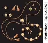 gold chains  bracelets ... | Shutterstock .eps vector #2027658659