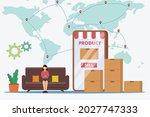 logistics export import vector... | Shutterstock .eps vector #2027747333