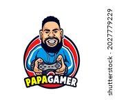 mascot papa gamer use training... | Shutterstock .eps vector #2027779229