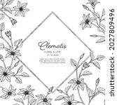 hand drawn clematis floral...   Shutterstock .eps vector #2027809496
