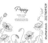 hand drawn poppy floral... | Shutterstock .eps vector #2027809529