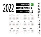 brazil 2022 calendar... | Shutterstock .eps vector #2027815553