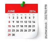 june 2014   calendar   Shutterstock . vector #202781998
