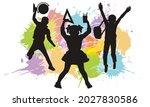 silhouette of jumping school... | Shutterstock .eps vector #2027830586