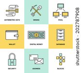 flat line icons set of bitcoin... | Shutterstock .eps vector #202787908