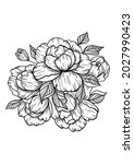 large  drawn bouquet flowers...   Shutterstock .eps vector #2027990423