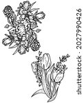 set of graphic flowers and...   Shutterstock .eps vector #2027990426