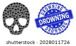 Drowning Rubber Round Stamp...