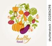 set of vegetables. healthy food ... | Shutterstock .eps vector #202806298