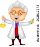 cartoon scientist holding... | Shutterstock .eps vector #202813378