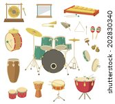 Set of vector percussion musical instruments in the flat style