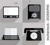 retro monochrome flat vector... | Shutterstock .eps vector #202830940