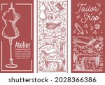 custom made clothes in atelier... | Shutterstock .eps vector #2028366386