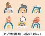 cats sit on rainbow. stickers... | Shutterstock .eps vector #2028415136