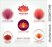 lotus icon set in red. good for ... | Shutterstock .eps vector #202847248