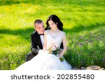 young couple in love bride and... | Shutterstock . vector #202855480