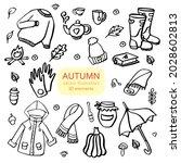 autumn doodles. hand drawn set... | Shutterstock .eps vector #2028602813