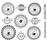 set of vintage coffee stickers  ... | Shutterstock .eps vector #202862788