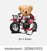 dirt rider slogan with bear...   Shutterstock .eps vector #2028651923